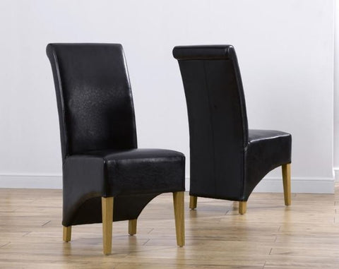 Bromley Brown Solid Oak Chairs with Bonded Leather (Pair)