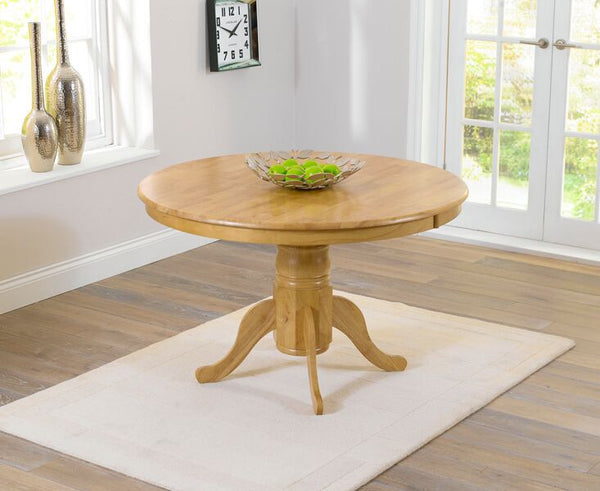 Elstree Solid Hardwood & Painted 120cm Round Dining Table - Oak