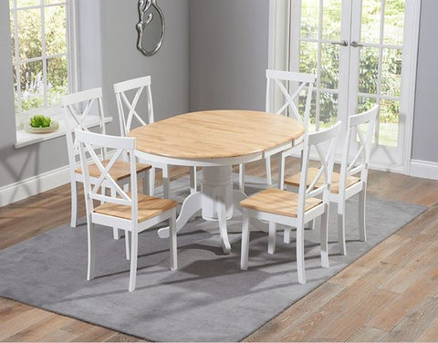 Elstree 100cm Extending Solid Oak & White Dining Set 4/6 Chairs