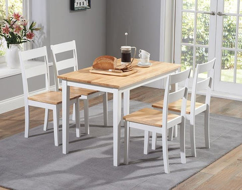 Chichester 115cm Solid Oak & White Dining Set with 4 Chairs