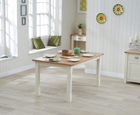 Sandringham 130cm Oak & Cream Dining Table