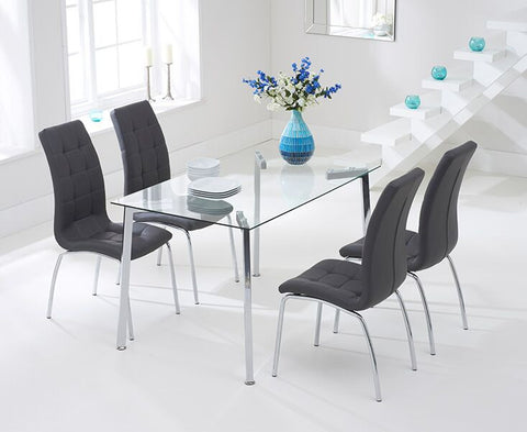 Munich 130cm Glass DT with 4 Charcoal California Chairs