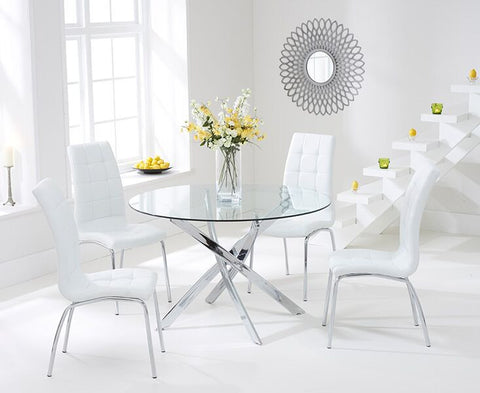 Daytona 110cm Glass DT with 4 Ivory-White California Chairs