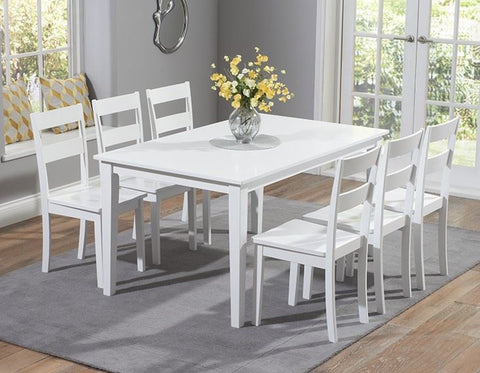 Chichester 150cm White Dining Table with 6 Dining Chairs