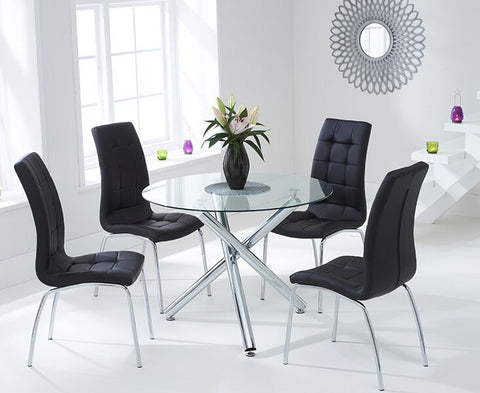 Odessa 100cm Glass DT with 4 Black California Chairs