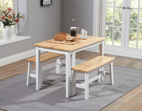 Chichester 115cm Solid Oak and White Dining Set with 2 Benches