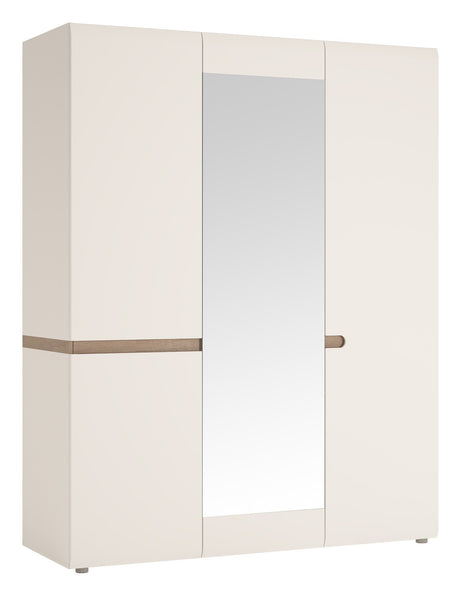 Chelsea 3 Door Wardrobe with Mirror White with Truffle Oak Trim