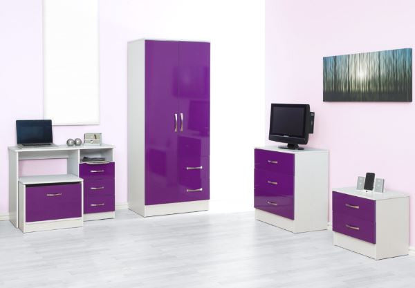 Marina Purple Gloss & Ash White 5 Piece Set