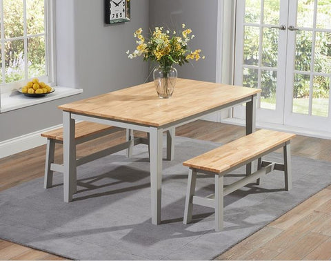 Chichester 150cm Solid Oak & Grey Dining Table with 2 Large Benches