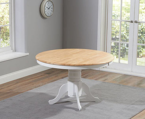 Elstree Solid Hardwood & Painted 120cm Round Dining Table  - Oak & White