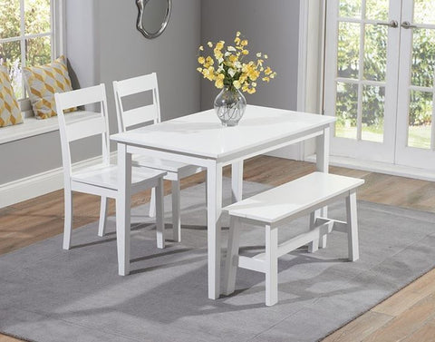Chichester 115cm Solid Hardwood White Dining Set with 2 Chairs & Bench