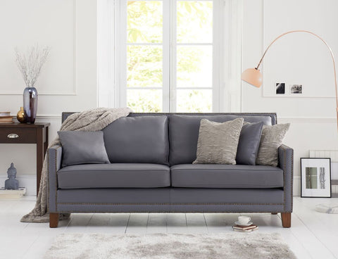 Arundel Grey Leather 3 Seater Sofa