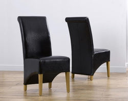 Bromley Black Solid Oak Chairs with Bonded Leather (Pair)