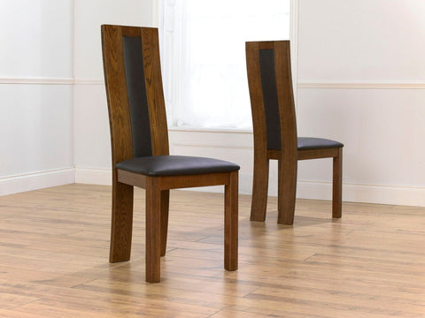 Dark Havana Solid Oak Chairs with Leather Upholstery (Pair)
