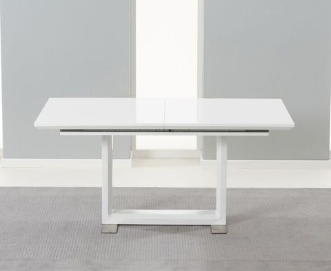Bianco White Solid Hardwood Extending Dining Table