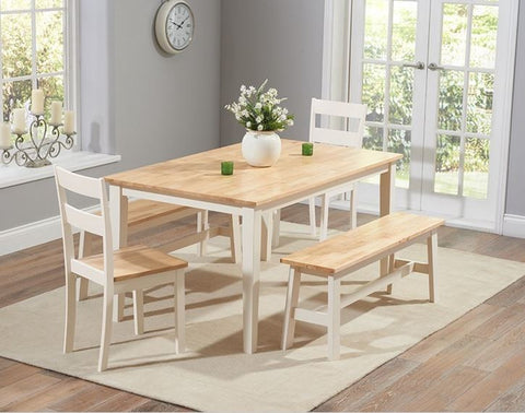 Chichester 150cm Oak & Cream Dining Table + 2 Chairs + 2 Large Benches