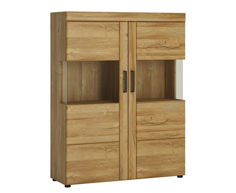 Cortina Low Wide 2 Door Display Cabinet Oak Finish