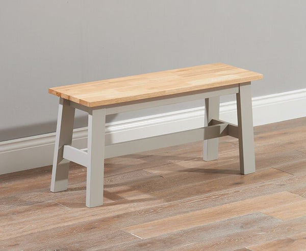 Chichester Solid Hardwood & Painted Small Bench - Grey