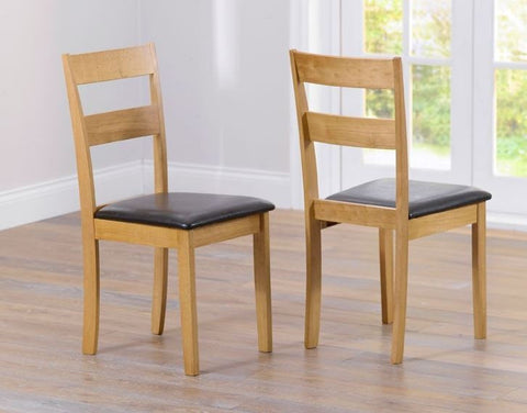 Hove Solid Hardwood Dining Chairs with Brown PU Seat (Pair)