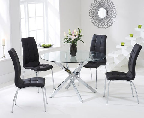 Daytona 110cm Glass DT with 4 Black California Chairs