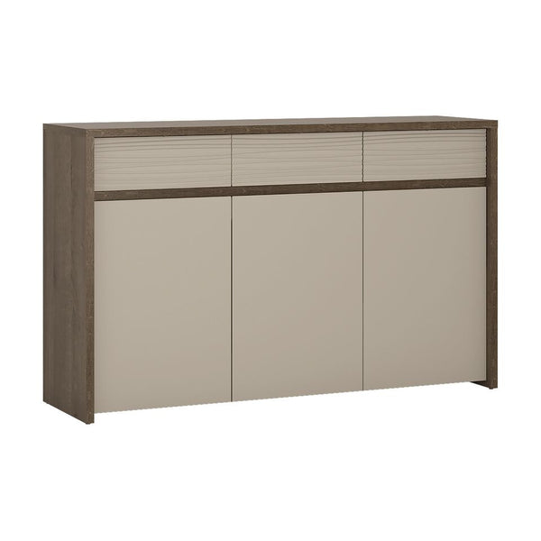 Aspen 3 Door Sideboard (Inc LED lighting) in Riviera Oak