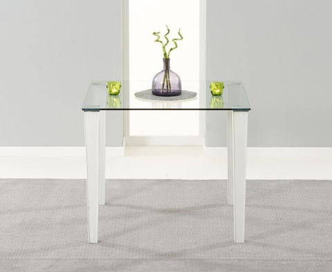 Melrose 90cm White Glass Dining Table with Leather Legs