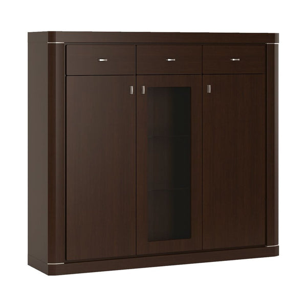 Camden 3 Door 3 Drawer Glazed Cabinet in Dark Wenge