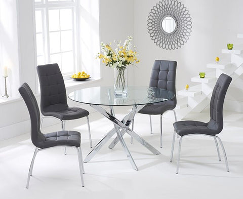 Daytona 110cm Glass DT with 4 Charcoal California Chairs