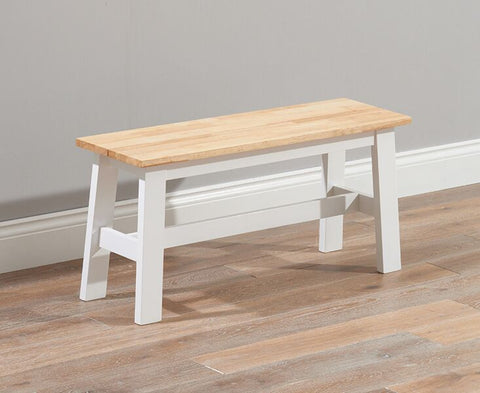 Chichester Solid Hardwood & Painted Small Bench - Oak & White