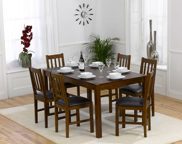 Marbella Dark 150cm Solid Oak Dining Set 6 Chairs