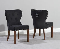 Kalim Solid Dark Oak Dining Chairs with Fabric Upholstery (Pair)