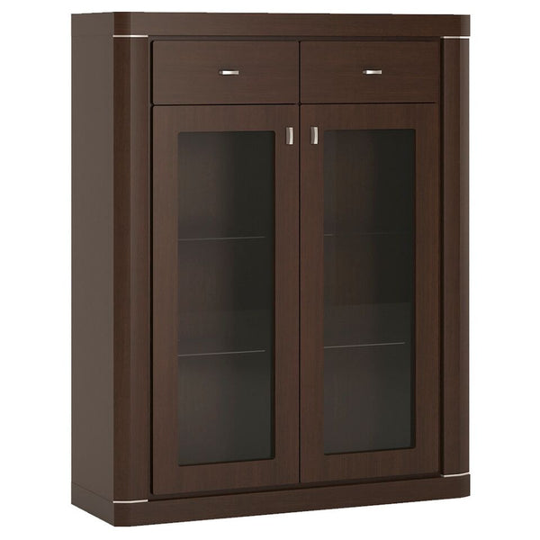 Camden 2 Door 2 Drawer Glazed Cabinet in Dark Wenge