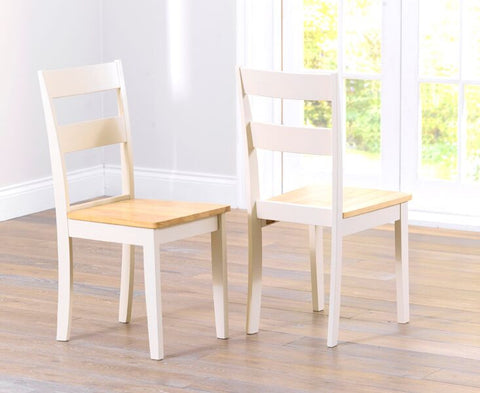 Chichester Solid Hardwood & Painted Dining Chairs (Pair) - Oak & Cream