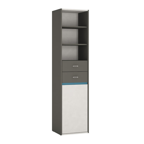 Alien Tall Narrow 1 Door 2 Drawer Bookcase in Graphite/Light grey