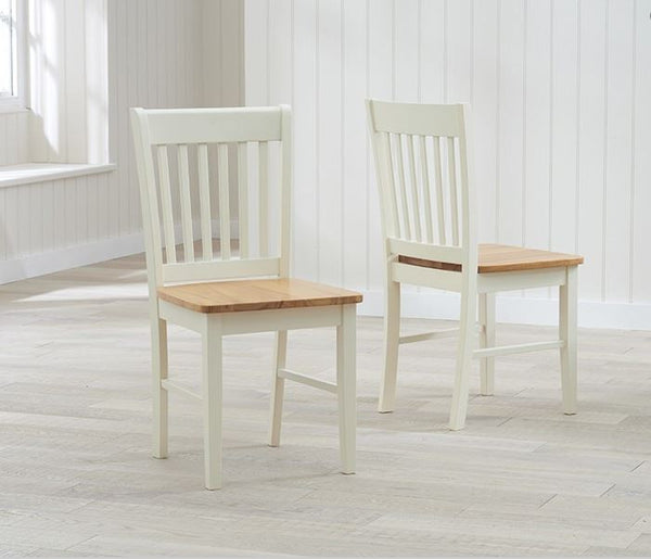 Alaska Solid Hardwood & Painted Dining Chairs (Pair) - Oak & Cream