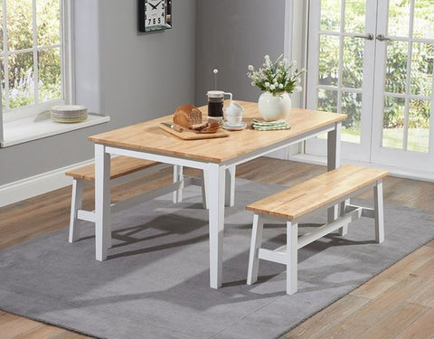 Chichester 150cm Solid Oak & White Dining Table with 2 Large Benches