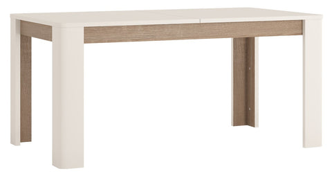 Chelsea Living 160-200cm Extending Dining Table in White with Truffle Oak Trim