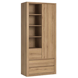 Hobby 1 Door 3 Drawer Tall Cabinet with Open Shelving