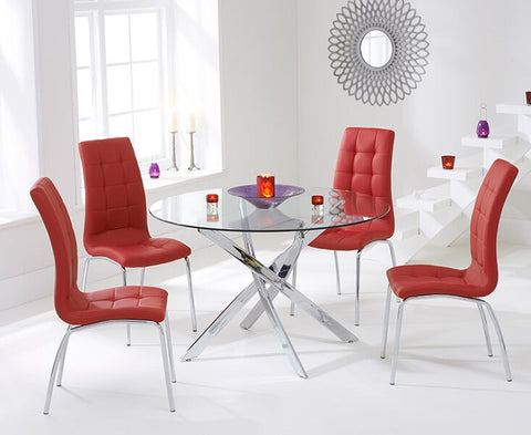 Daytona 110cm Tempered Glass Dining Table with 4 Red California Chairs