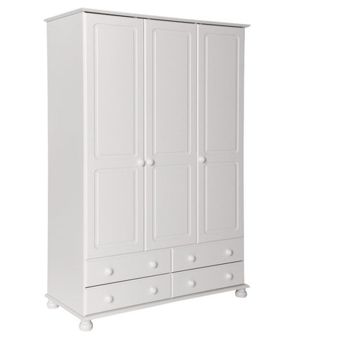 Copenhagen 3 Door 4 Drawer Large Triple Wardrobe in White