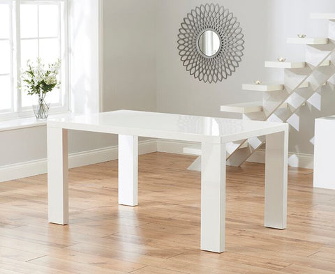 Metz 120cm White High Gloss Solid Wood Dining Table