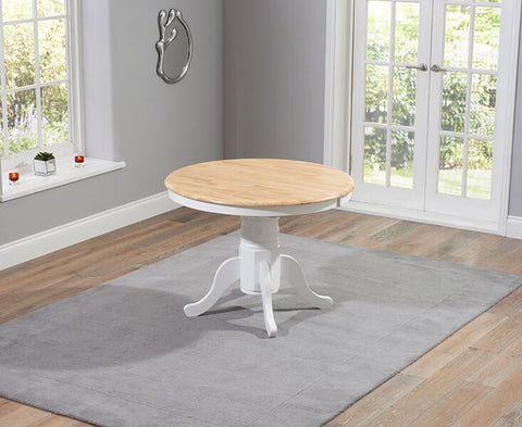 Elstree Solid Hardwood & Painted 100cm Ext Dining Table - Oak & White