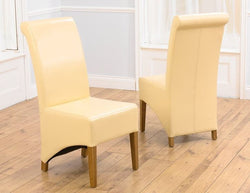 Bromley Cream Solid Oak Chairs with Bonded Leather (Pair)