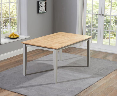 Chichester Solid Hardwood & Painted 150cm Dining Table - Oak & Grey