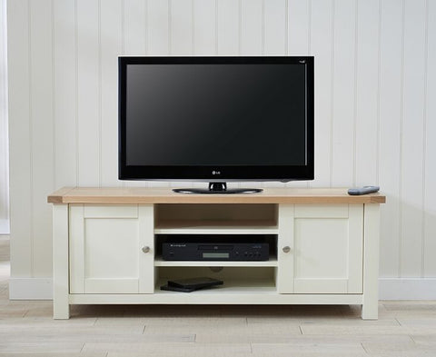 Sandringham Oak & Cream Solid Hardwood TV Unit