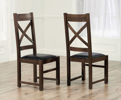 Canterbury Dark Solid Oak Chairs with Genuine Leather (Pair)