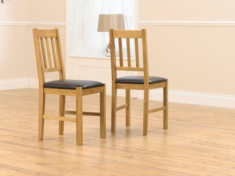 Promo Solid Oak Dining Chair with Brown PU Seat (Pair)