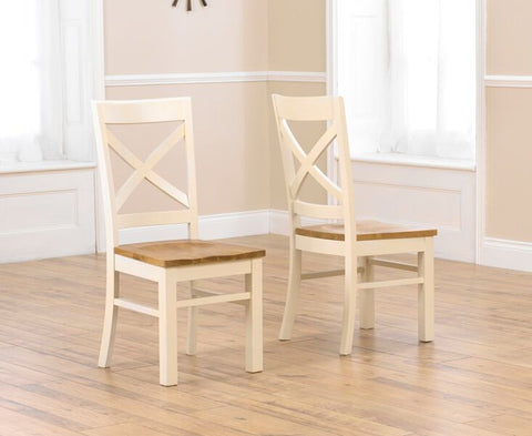 Cavanaugh Cream & Solid Oak Chairs (Pair)