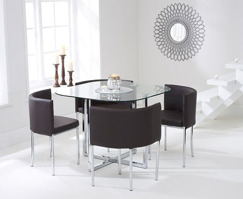 Abingdon Stowaway Glass Dining Set with 4 Brown PU Leather Dining Chairs
