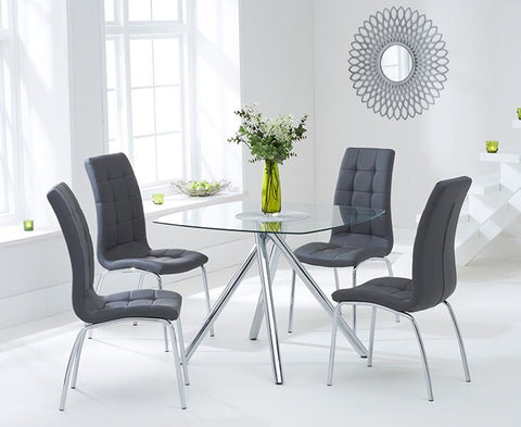 Elba 100cm Glass DT with 4 Charcoal Grey Chairs